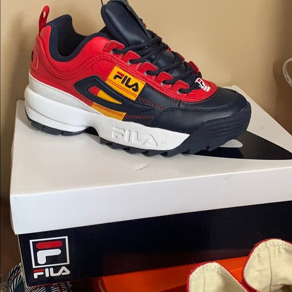 fila disruptor navy and gold cheap online